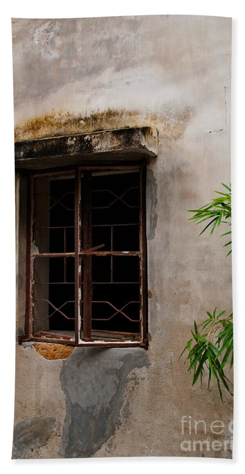 Ancient Bath Sheet featuring the photograph Window On Canvas by Venetta Archer