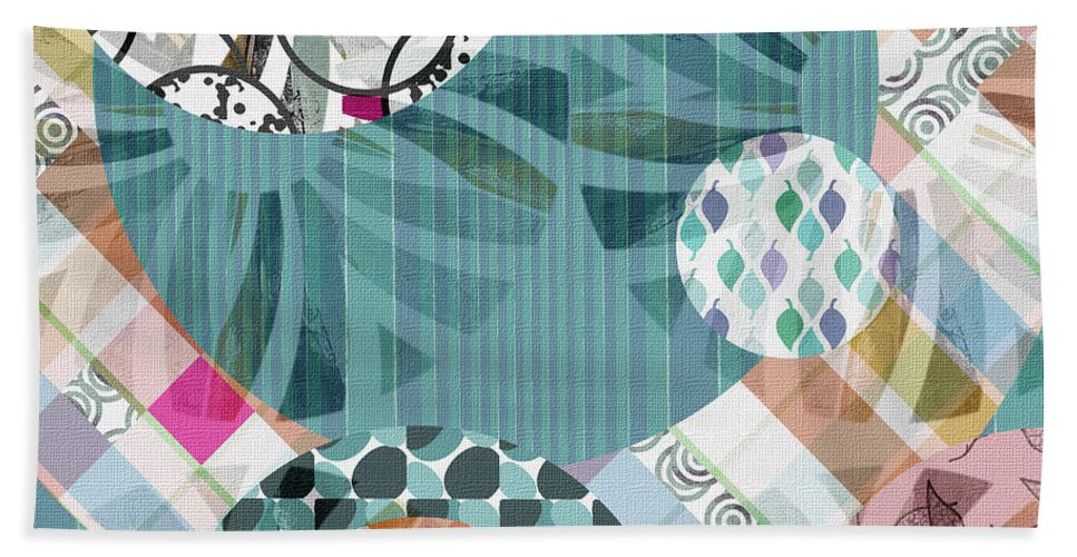 Abstract Hand Towel featuring the mixed media Window Shopping II by Ruth Palmer