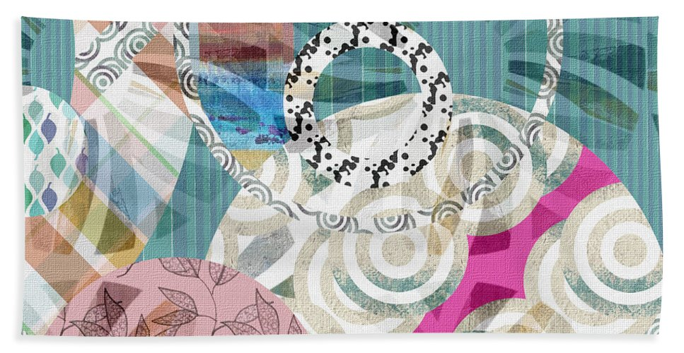 Abstract Hand Towel featuring the mixed media Window Shopping by Ruth Palmer