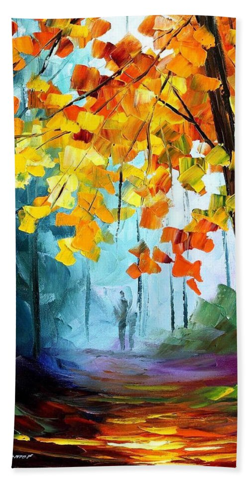 Art Gallery Hand Towel featuring the painting Window To The Fall - Palette Knife Oil Painting On Canvas By Leonid Afremov by Leonid Afremov