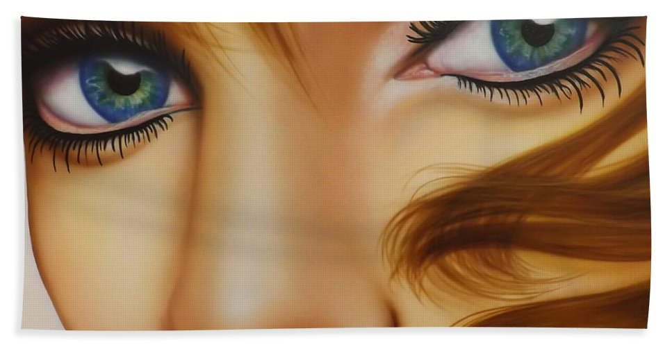 Portrait Bath Sheet featuring the painting Window To The Soul by Darren Robinson