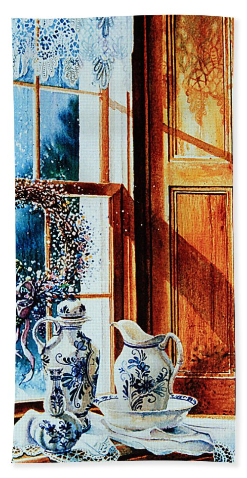 Still Life Hand Towel featuring the painting Window Treasures by Hanne Lore Koehler