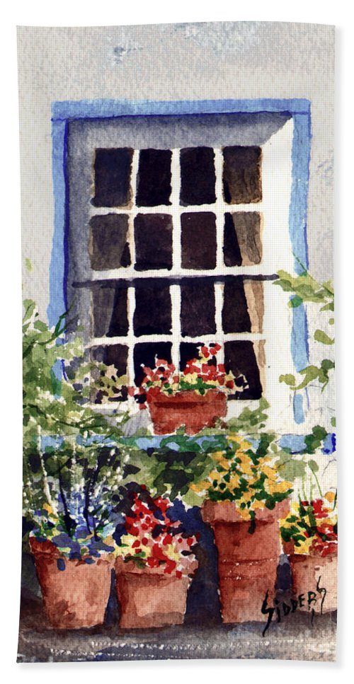 Window Hand Towel featuring the painting Window With Blue Trim by Sam Sidders