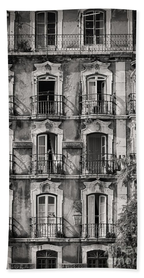 Building Facade Bath Sheet featuring the photograph Windows And Balconies 1 by Rod McLean