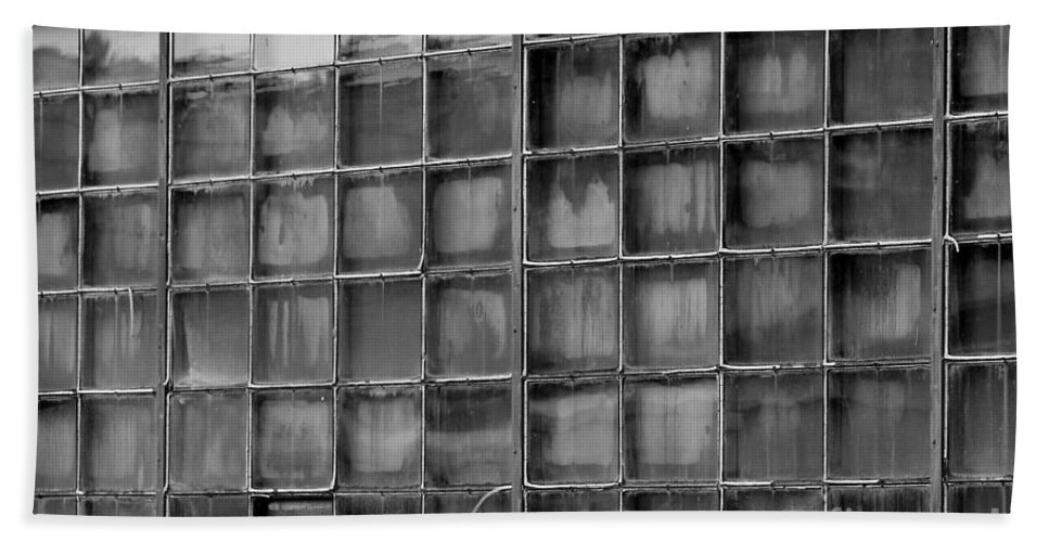 Building Bath Sheet featuring the photograph Windows Black And White by Karen Adams