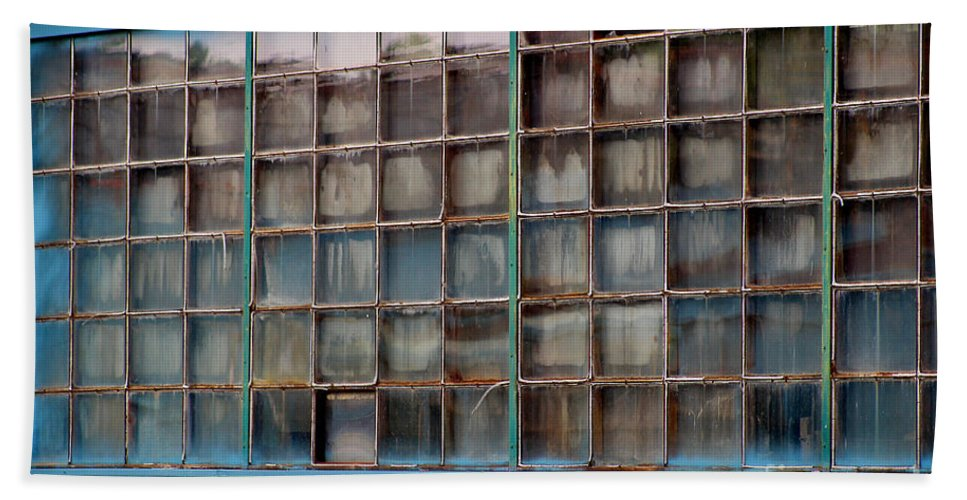 Building Bath Sheet featuring the photograph Windows In Blue Building 3 by Karen Adams