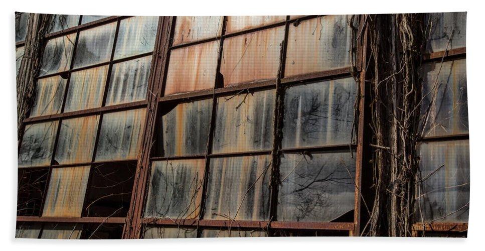 Broken Windows Into My Soul Bath Sheet featuring the photograph Windows Into My Soul by Cindy Archbell