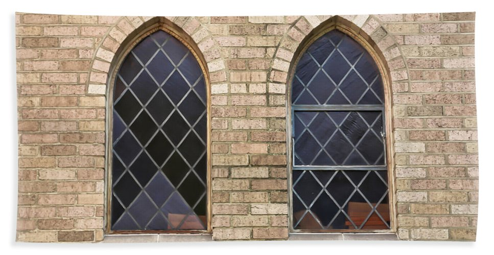 Window Hand Towel featuring the photograph Windows Within The Catholic Walls by Athena Mckinzie