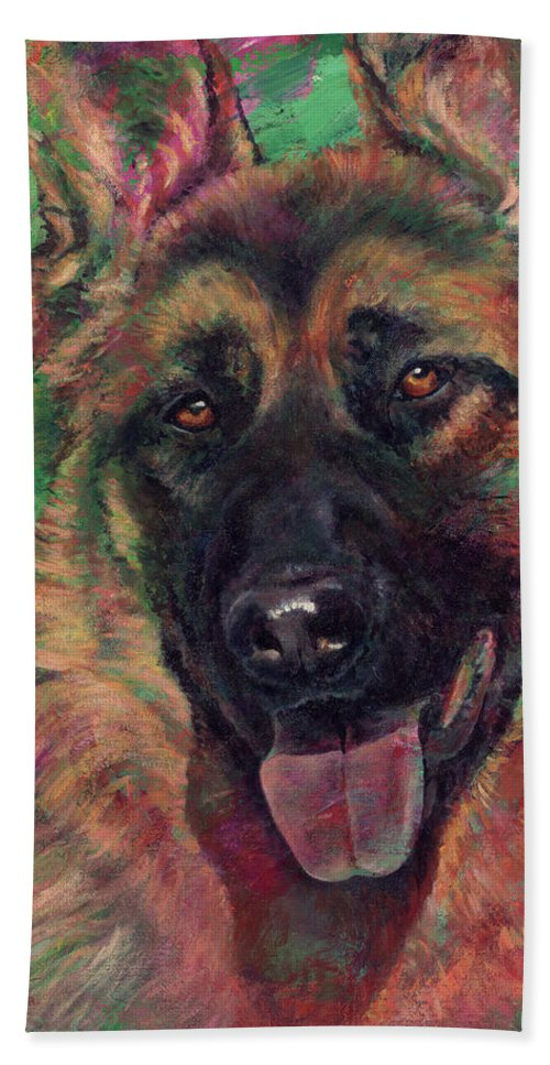 Dog Hand Towel featuring the painting Windridge's Love by Don Michael Jr