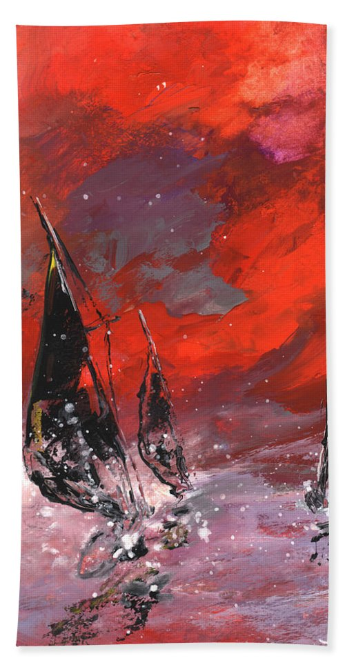 Gouache Bath Sheet featuring the painting Windsurf Impression 02 by Miki De Goodaboom