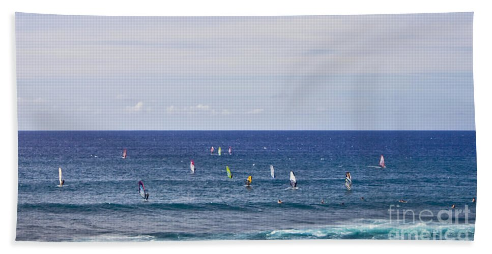 Surfing Hand Towel featuring the photograph Windsurfing by Andrea Goodrich