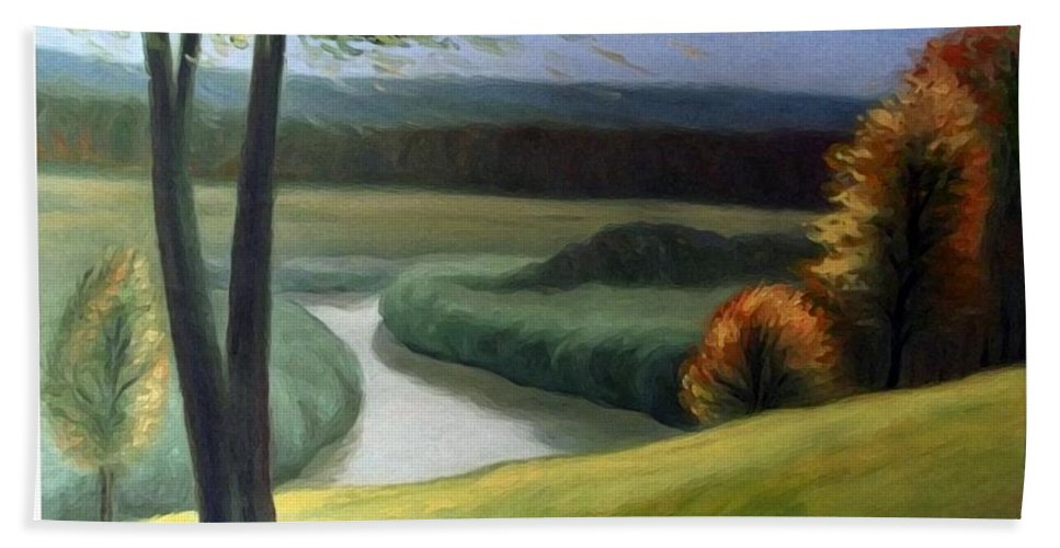 Landscape Hand Towel featuring the painting Windy Autumn by Algirdas Lukas