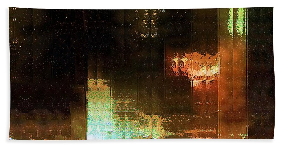 Abstract Bath Sheet featuring the painting Windy City Night by RC DeWinter