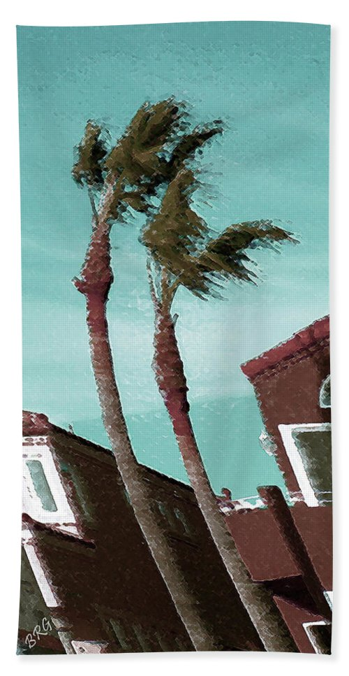 Palm Bath Sheet featuring the photograph Windy Day By The Ocean by Ben and Raisa Gertsberg