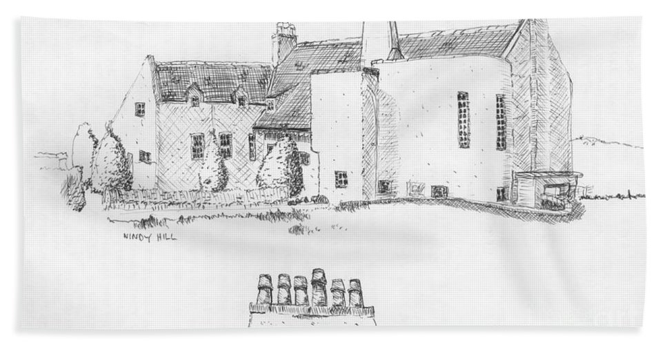 Ink Sketch Bath Sheet featuring the drawing Windy Hill House by Ron Bissett