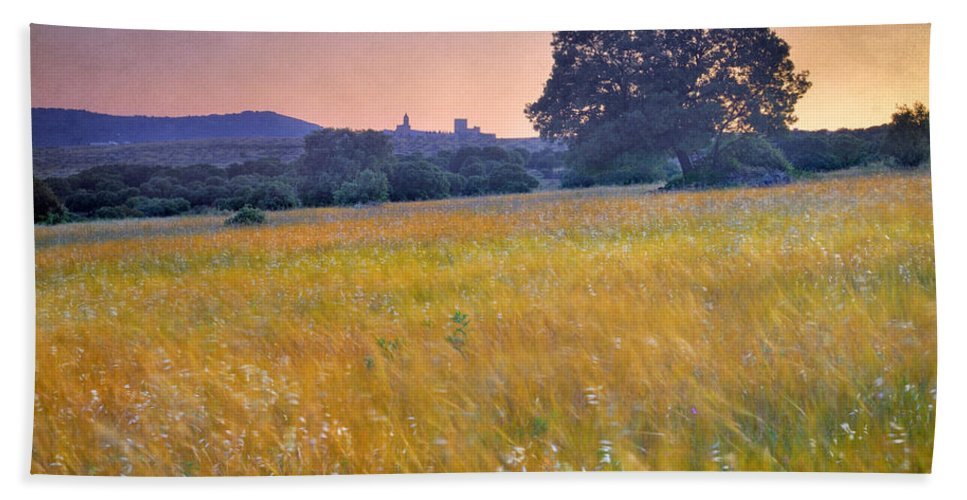 Arquitecture Hand Towel featuring the photograph Windy Sunset At The Medieval Castle by Guido Montanes Castillo