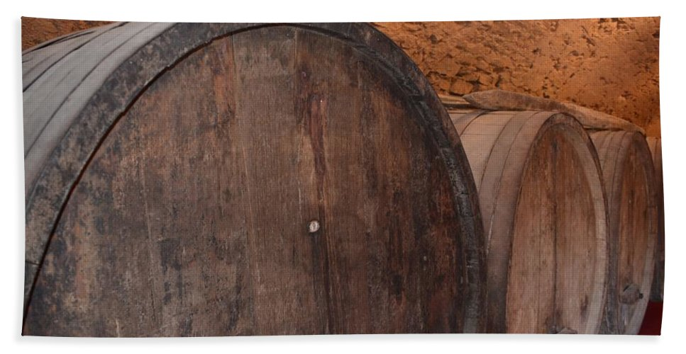 Alcohol Hand Towel featuring the photograph Wine Barrel by Dany Lison