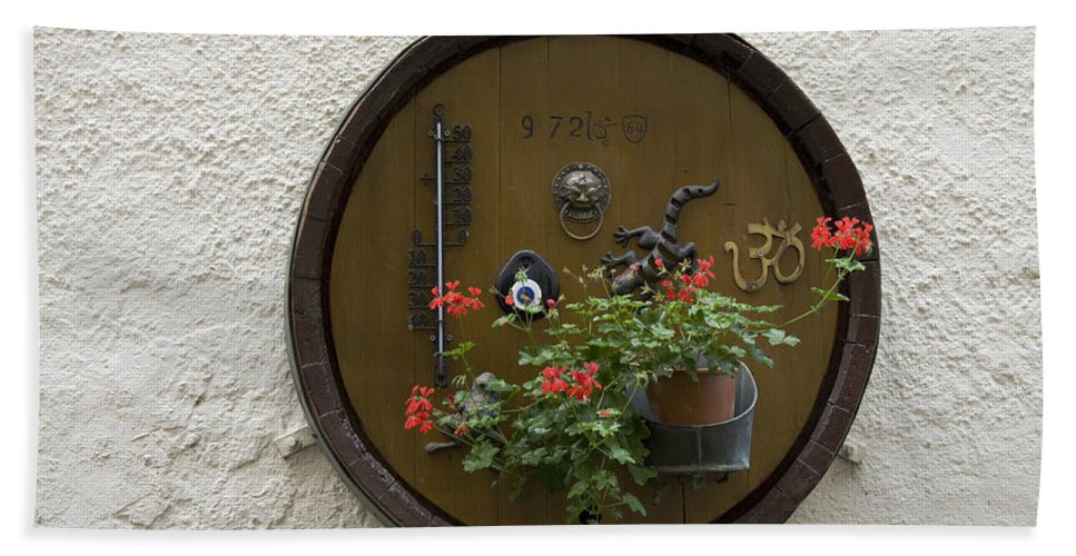 Outside Wall Decoration Bath Sheet featuring the photograph Wine Barrel Decoration by Sally Weigand
