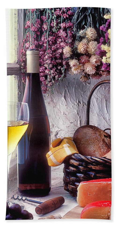 White Bath Towel featuring the photograph Wine Bottle With Glass In Window by Garry Gay