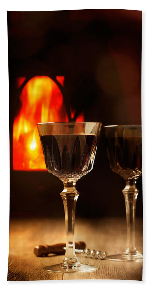 Wine Hand Towel featuring the photograph Wine By The Fire by Amanda Elwell