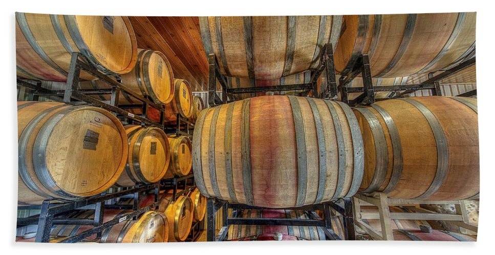 Wine Bath Towel featuring the photograph Wine Cask Room by David Morefield