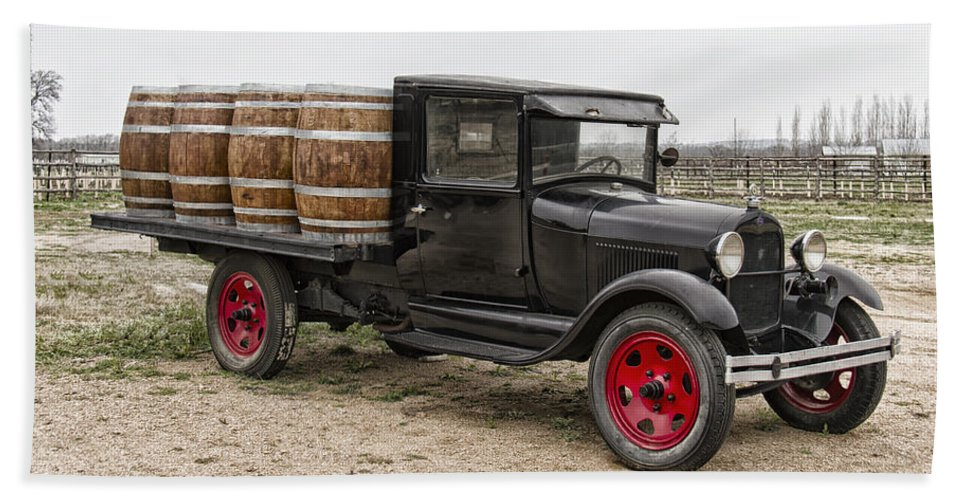 Wine Barrel Hand Towel featuring the photograph Wine Delivery Truck by Debby Richards