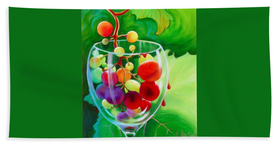 Grape Cluster Hand Towel featuring the painting Wine On The Vine IIi by Sandi Whetzel