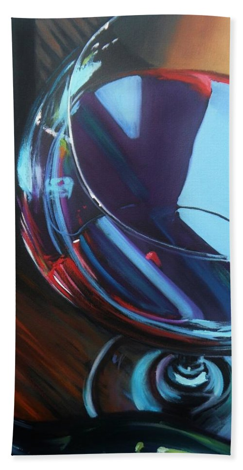 Wine Bath Sheet featuring the painting Wine Reflections by Donna Tuten