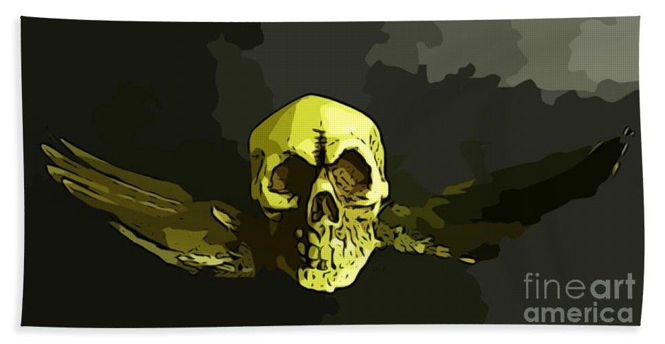 Skull Bath Sheet featuring the digital art Winged Skull by John Malone