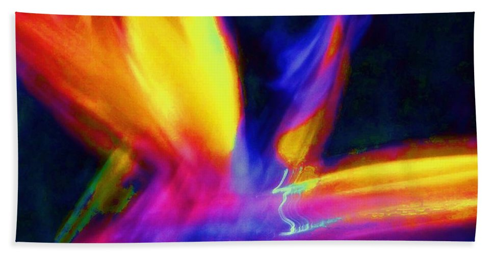 Wings Hand Towel featuring the photograph Wings Of Color Abstract by Eric Schiabor