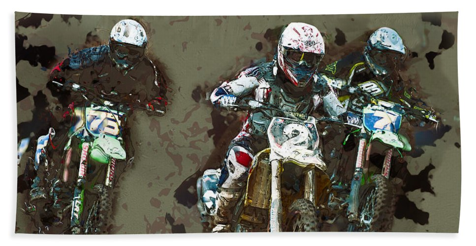 Motorcross Bath Sheet featuring the digital art Winning by Roy Pedersen