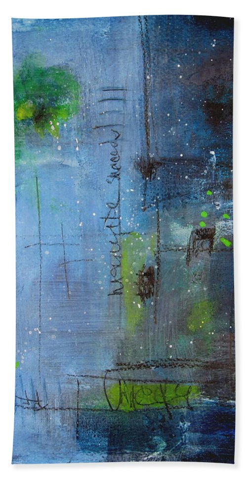 Abstract Painting Bath Sheet featuring the painting Winter 2 by Nicole Nadeau