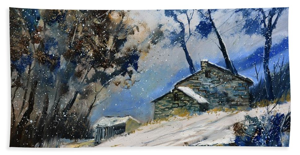 Landscape Bath Sheet featuring the painting Winter 655120 by Pol Ledent