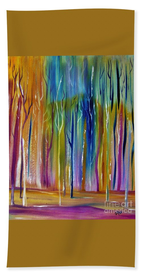 Abstract Hand Towel featuring the painting Winter Aspen by Janice Rae Pariza