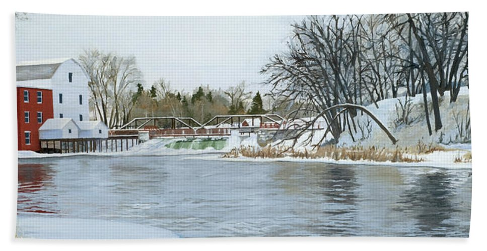 Landscape Hand Towel featuring the painting Winter At Phelps Mill by Lynn Hansen