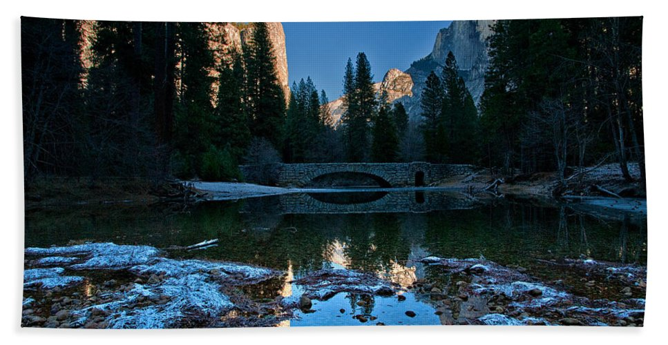 River Bath Sheet featuring the photograph Winter At Stoneman Bridge by Cat Connor