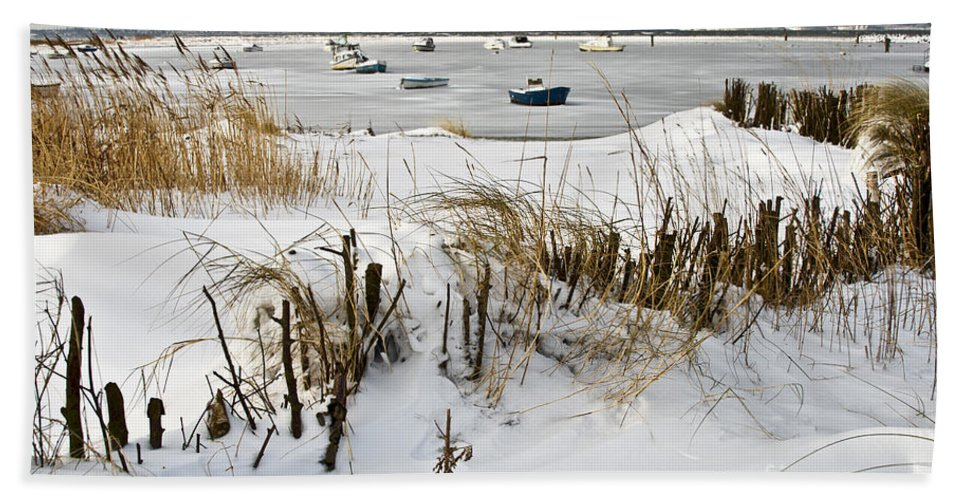 Snowbound Beach Hand Towel featuring the photograph Winter At The Beach 2 by Heiko Koehrer-Wagner