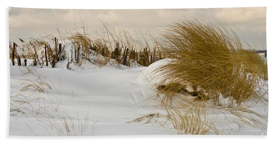 Snowy Beach Hand Towel featuring the photograph Winter At The Beach 3 by Heiko Koehrer-Wagner