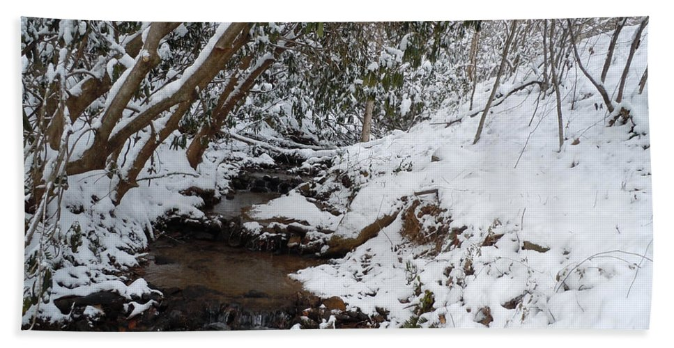 Snow Hand Towel featuring the pyrography Winter At The Creek by Jean Blackmer