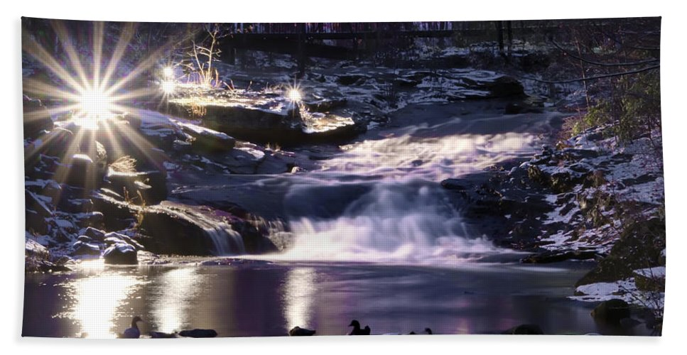 Winter Hand Towel featuring the photograph Winter At The Woodlands Waterfall In Wilkes Barre by Bill Cannon