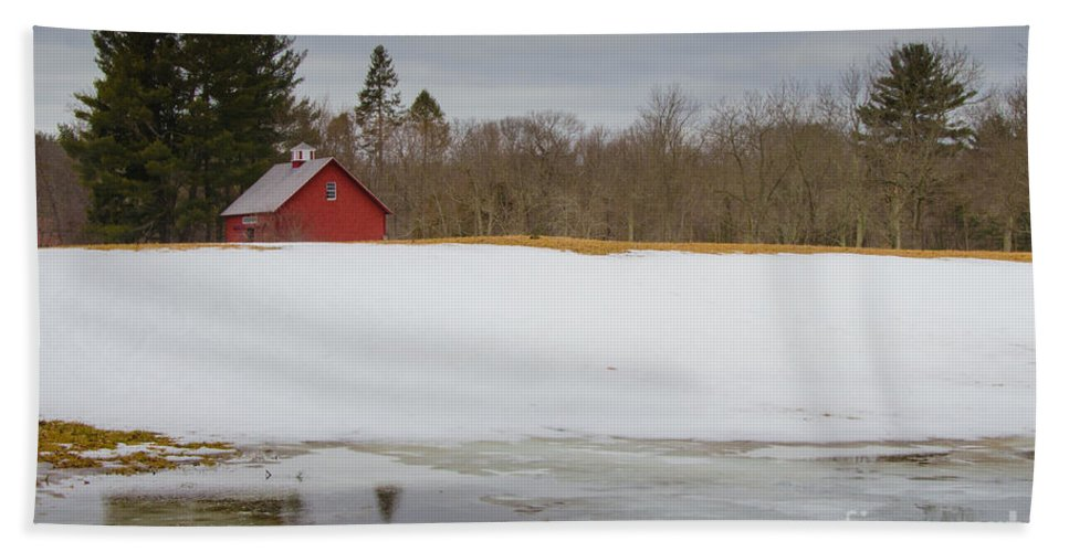 Red Hand Towel featuring the photograph Winter Barn by Pat Lucas