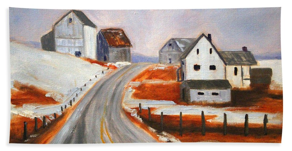 Winter Hand Towel featuring the painting Winter Barns by Nancy Merkle