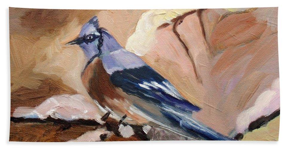 Winter Bird Bath Sheet featuring the painting Winter Bird by Elena Sokolova