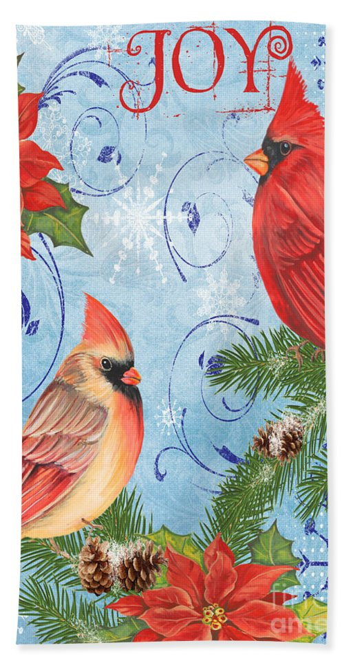 Watercolor Painting Hand Towel featuring the mixed media Winter Blue Cardinals-joy Card by Jean Plout