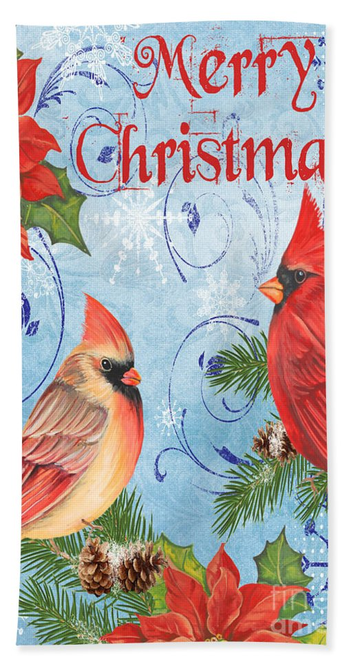 Watercolor Painting Hand Towel featuring the mixed media Winter Blue Cardinals-merry Christmas Card by Jean Plout