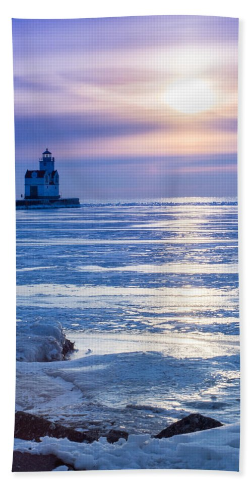 Lighthouse Hand Towel featuring the photograph Winter Blues by Bill Pevlor