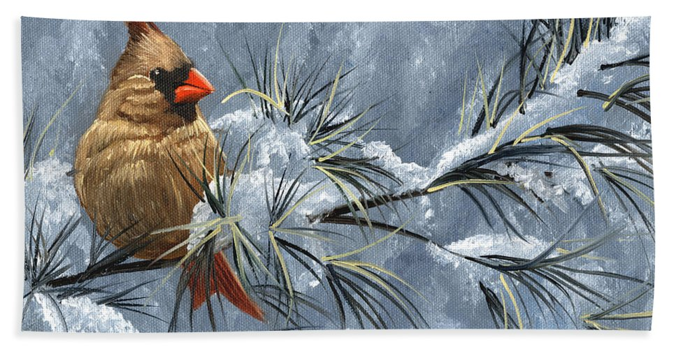 Cardinal Hand Towel featuring the painting Winter Cardinal by Christopher Lyter