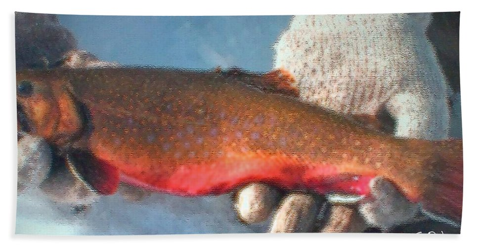 Fish Bath Sheet featuring the painting Winter Catch by George Pedro