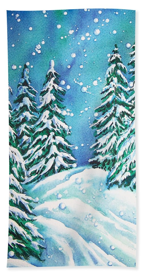 Snow Hand Towel featuring the painting Winter by Conni Reinecke