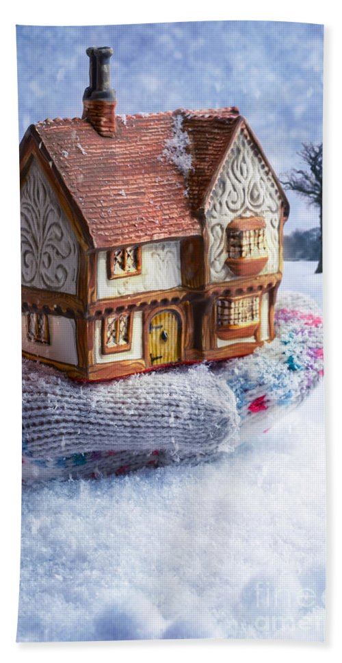 Winter Bath Sheet featuring the photograph Winter Cottage In Gloved Hand by Amanda Elwell